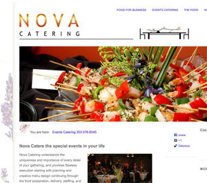 Snapshot of a portion of the Events page, one of several templates for landing pages for the different types of information Nova Catering wanted to convey to clients. Albums of photos and logo design by Steuart Bremner, web design by Terry Talty, Limitless Idea Project