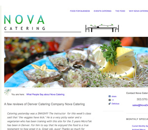 Logo for summer, on a page dedicated to testimonials about Nova Denver Catering, built on Wordpress for Nova to use as a Content Managment Systems and SEO friendly blogging. Designer: Terry Talty, Limitless Idea Project, custom wordpress theme.