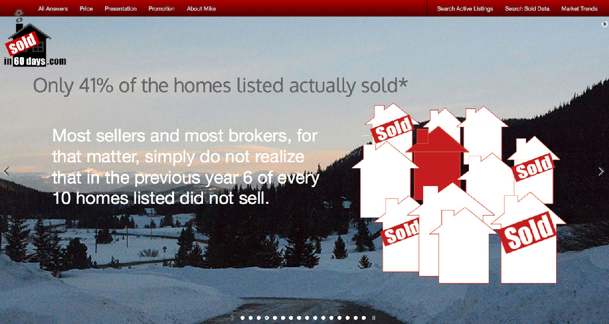 graphics for an informative real estate website, Sold in 60 Days