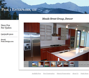 Limitless Idea Project, Web Design Layout Examples for Peak One Enterprises, slides show page for the projects with a lot of images