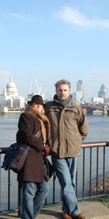 Terry Talty and Steuart Bremner on the Thames outside Tate Modern